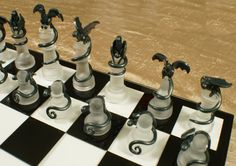 Epic Dragon Chess Set - Glass Board, Polymer Clay Dragons, Handmade, Slate and Silver by DragonJeweleryArt on Etsy