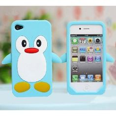 Blue Penguin Silicone Soft Case Cover For iPhone 4 4G 4S ... sooo cute!  Though the flippers would probably annoy me.