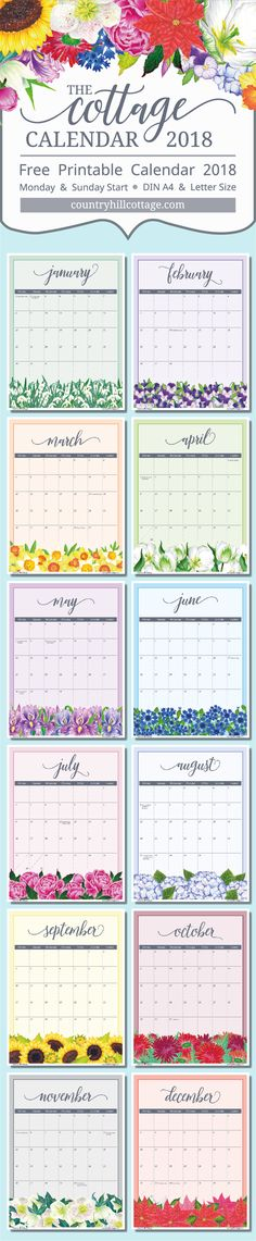 Download your copy of our free printable calendar 2018 featuring flowers from the Cottage garden. The calendar comes in two versions, starting Monday or Sunday, and can be printed on DIN A4 or letter size paper. #freeprintbale #printable #calendar | countryhillcottage.com