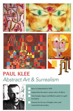 Paul Klee Art Poster The images in this poster are my favorite Klee works of art and the ones that I feature most often in my art lessons. The bio is super brief and is meant to help me remember a few facts about the artist and names of his paintings so my prep doesn't involve frantic googling a few minutes before the kids come in.