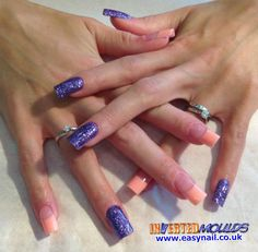 Peach and Purple Glitter Inverted Moulds by Karen Stockton from Shanti Nantwich Road in Crewe   IM Nail Training www.easynail.co.uk  #Invertedmoulds #nails #crewe #nailart #glitter #purple #nailswag