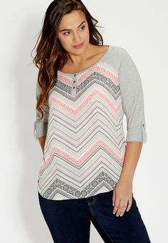 plus size henley top with chiffon front