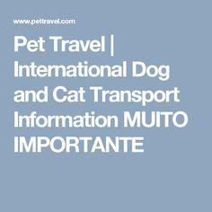 Pet Travel | International Dog and Cat Transport Information  MUITO IMPORTANTE