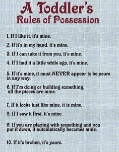 Can't argue with incontrivertible logic - A Toddler's Rules of Possession.