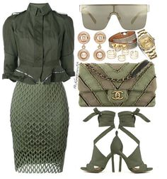 This cure green outfit makes a great workplace clothing selection. Classy Outfits, Chic Outfits, Fashion Outfits, Womens Fashion, Fashion Trends, Work Fashion, Fashion Looks, Style Fashion, Mode Glamour