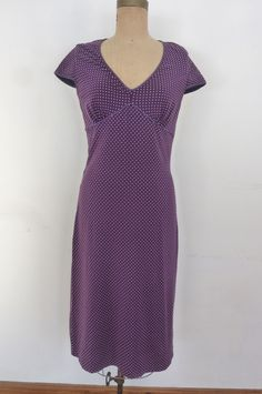 Vintage Betsy Johnson Dress Purple Polka Dot Stretch Knit Midi Length Size M Made in USA 1990s by ZoomVintage on Etsy