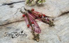 Orecchini ali libellula rosso bronzo pendenti, by Evangela Fairy Jewelry, 11,00 € su misshobby.com