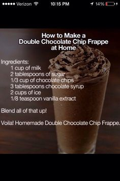 Double Chocolate Chip Frappe at Tasty Fun Recipes We have an easy recipe for you today! It is the Double Chocolate Chip Frappe which is delicious! Everyone has tasted one of these before and if you do (Chocolate Milkshake For One) Yummy Drinks, Delicious Desserts, Dessert Recipes, Yummy Food, Fun Recipes, Recipe Ideas, Copycat Recipes, Paleo Recipes, Iced Coffee