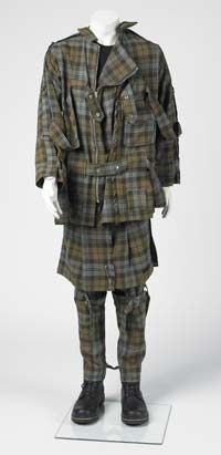 Tartan wool bondage suit,made by Vivienne Westwood for Seditionaries. Worn on stage by John Wood of Deaf School in about 1976-77.