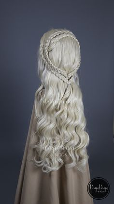 White Blonde Wig | Long Lace Front Wig + Dutch Braids | Game of Thrones Daenerys Khaleesi Costume Meereen Cosplay | PungoPungo Queen Series by PungoPungo on Etsy