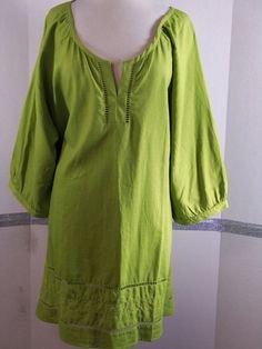 Woman Within Tunic Top/Blouse 2X Linen Rayon Fresh kiwi Green 3/4 sleeve  #WomanWithin #Tunic #Casual