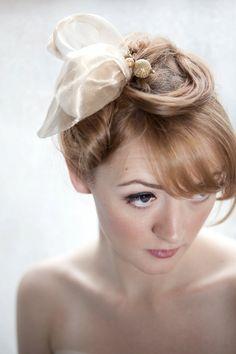 Golden Silk Organza Fascinator Hair Clip by annamainsdesigns, $115.00