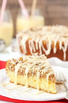Eggnog Crumb Cake has eggnog in the cake & the icing, and it's spiced with nutmeg & cinnamon in the crumb topping! This tasty cake is great for the holidays Cake Frosting Recipe, Frosting Recipes, Icing, Homemade Cake Recipes, Baking Recipes, Crumb Coffee Cakes, Crumb Cakes, Just Desserts, Delicious Desserts