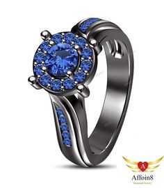 14k Black Gold Over 925 Silver Round Cut Blue Sapphire Engagement Ring 1.10 CT #Affoin8 #WomensWeddingEngagementRing