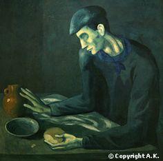 Le repas de l'aveugle, Picasso, 1903, Période bleue