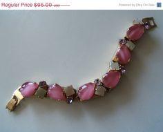 SALE Vintage Pink Rhinestone Bracelet 1950's by MartiniMermaid