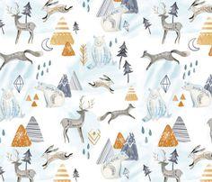 Northen Lights/ Woodland Artic animals/ Polar Bear Deer Bunny custom fabric by biancapozzi for sale on Spoonflower Woodland Fabric, Woodland Forest, Artic Animals, Northen Lights, Nursing Pillow Cover, Nursery Fabric, Kona Cotton, Deer, Vibrant Colors