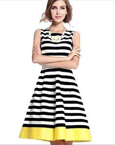 Vrouwen zwart wit gestreepte jurk vintage retro elegante taille haak audrey…