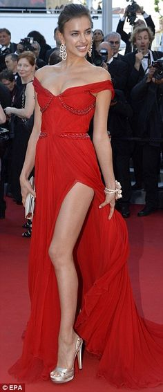 """Glamorous lady: Irina Shayk opted for a red number ~ Cannes 2012 film premiere of """"Killing Them Softly"""""""