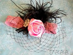 Custome   vintage Inspired  pink and black lace Headband-Baby Girl  lace headband.