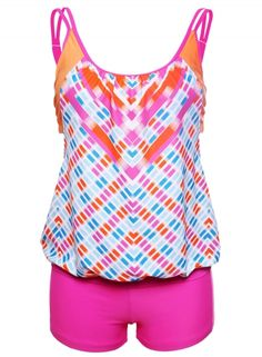 Women's Printed Layered-Style Rosy Tankini with Swim Trunks.  Find more surprises from www.azbro.com