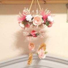 Flower mobile for baby girl floral nursery in peach, gold, gray, and white. DIY crib mobile. Floral crib mobile floral nursery theme.