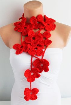 Shop for crochet on Etsy, the place to express your creativity through the buying and selling of handmade and vintage goods. Crochet Art, Hand Crochet, Red Poppies, Red Flowers, Cooling Scarf, Sassy Girl, Look Fashion, Fashion Clothes, Fashion Ideas