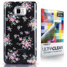 CaseiLike ® schwarz , Floral Rose Classic, Snap-on Koffer wieder cover für Samsung Galaxy S2 S 2 S II SII i9100 mit Displayschutzfolie