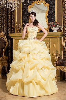 a1504a20dd1 Trendy Design Beading Pick Up Yellow Quinceanera Dress Tulle Ball Gown