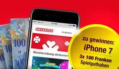 Gewinne jetzt ein #iPhone7 von Apple sowie 3 mal CHF 100.- Spielguthaben von Swisslos. https://www.alle-schweizer-wettbewerbe.ch/gewinne-iphone-7-und-spielguthaben/