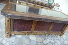 Hacienda Tooled Leather Desk