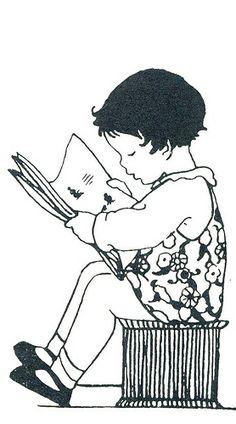 Rie Cramer vignet lezend kind