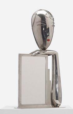 Franz Hagenauer; Nickel-Plated Brass, Mirrored Glass and Coral Table Mirror for Hagenauer Werkstätte, c1935.
