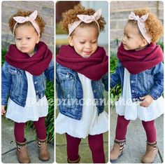 This outfit is too cute, except that huge scarf that the little girl is swimming. - Kids Maybe - Kids Outfit Little Girl Outfits, Cute Outfits For Kids, Little Girl Fashion, Toddler Girl Outfits, Cute Kids, Fashion Kids, Toddler Fashion, Fashion Women, Kids Mode