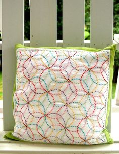 Colorful Crafting with Jen: Rickie's Sashiko Pillow - Knitting Crochet Sewing Crafts Patterns and Ideas! - the purl bee