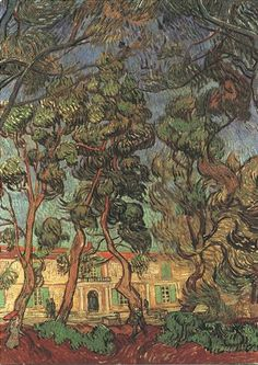 Vincent van Gogh: Trees in the Garden of Saint-Paul Hospital. Oil on canvas. Saint-Remy: October, 1889. Los Angels: The Armand Hammer Museum.