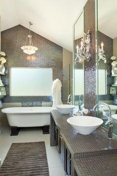 sparkling clean bathroom if only in cream not brown would be so pretty Bathroom Interior Design, Bathroom Designs, Bathroom Ideas, Bath Tub, Bath Room, Tile Wood, Metro Tiles, Dream Bath, Bathroom Stuff