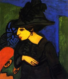 Ernst Ludwig Kirchner, Dodo in Feathered Hat, 1911
