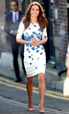 Kate MIddleton in a white-and-blue floral LK Bennett sheath dress