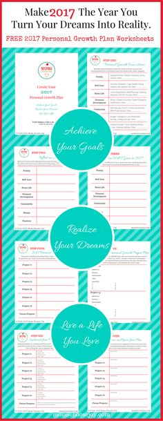 Are you ready for goal setting for 2017? This free 7-Step Personal Growth Plan Worksheet Printable is designed with busy moms in mind. Use the worksheets to create a plan to make 2017 the year you achieve your goals, turn your dreams into reality, and live a life you love!