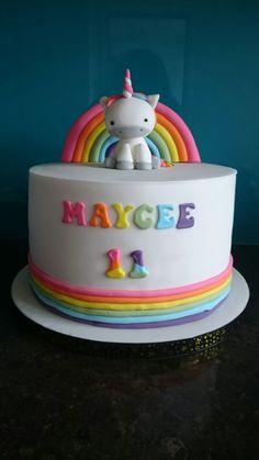 Rainbow baby unicorn birthday cake