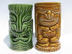 Photo of Retro tiki cups, vintage pottery mug and tumbler for tropical drinks #2