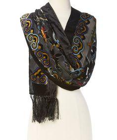 Look at this #zulilyfind! Black & Green Floral Silk-Blend Scarf #zulilyfinds