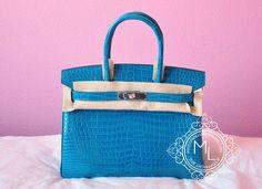 Hermes Blue Izmir Turquoise Porosus Crocodile Birkin 30 Bag - MAISON de LUXE f3911b4ee5765