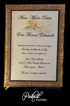 Rustic Burlap Wedding Invitation. $50.00, via Etsy.
