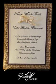 Rustic Burlap Wedding Invitation. $50.00, via Etsy.