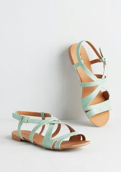 Backyard by Popular Demand Sandal. Host your much-anticipated BBQ in these cool-as-a-cucumber, mint-green sandals! #mint #modcloth