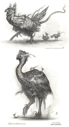 I like this character because it looks like an unusual bird as if it was a hybrid of some of the existing birds or came from a different era. It looks like if it was wearing something on its head which makes it look tame or maybe even able to communicate. Curious Creatures, Alien Creatures, Fantasy Creatures, Mythical Creatures, Creature Concept Art, Creature Design, Beast Creature, Psy Art, Fantasy Monster