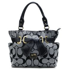 High Quality Coach Poppy Bowknot Signature Medium Grey Totes ANC Is The Symbol Of The Top Social Status! #CoachOnlineOutlet