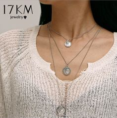 f387b27d679 17KM Vintage Multilayer Long Charm Pendant Necklaces For Women Fashion  Figure Choker Necklace Gold Silver Color Statement Gifts